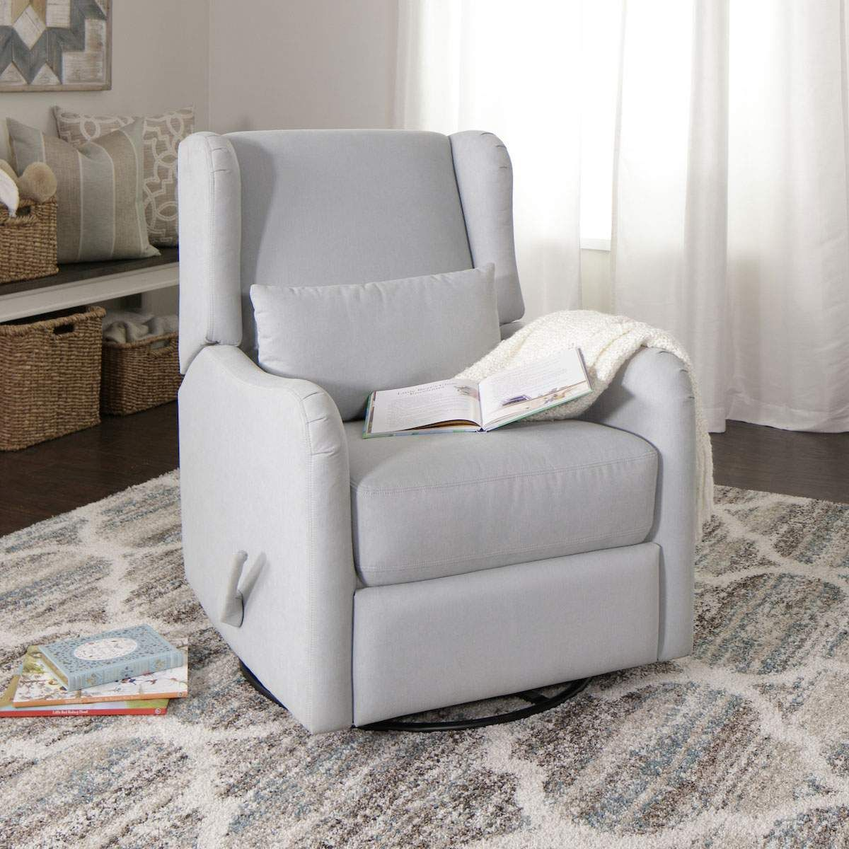 jerome's swivel chairs leather dining pottery barn serenity glider recliner in grey nursery pinterest jerome s furniture