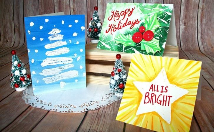 Diy Watercolor Resist Holiday Cards Use Plain Cardstock Paper