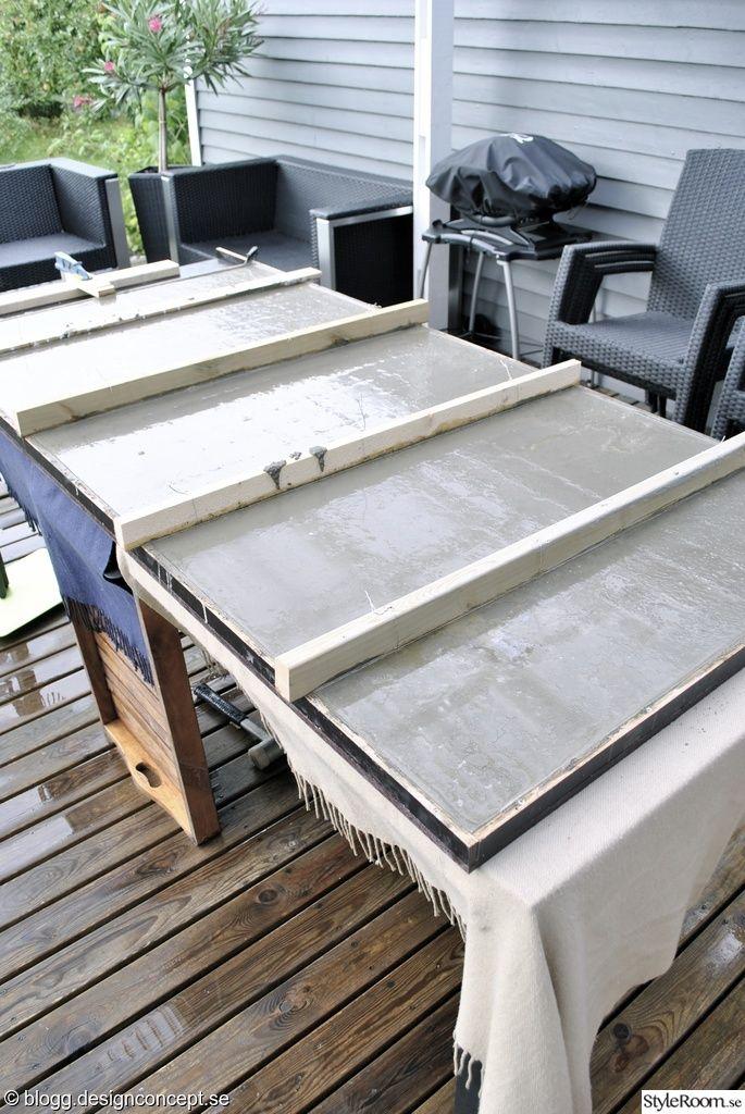 gjuta betongskiva utomhus