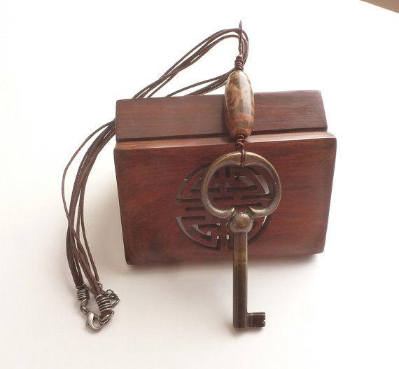 Key Jewelry Large Bronze Key Tibet Etched Dzi by FunkyMaMaJewelry