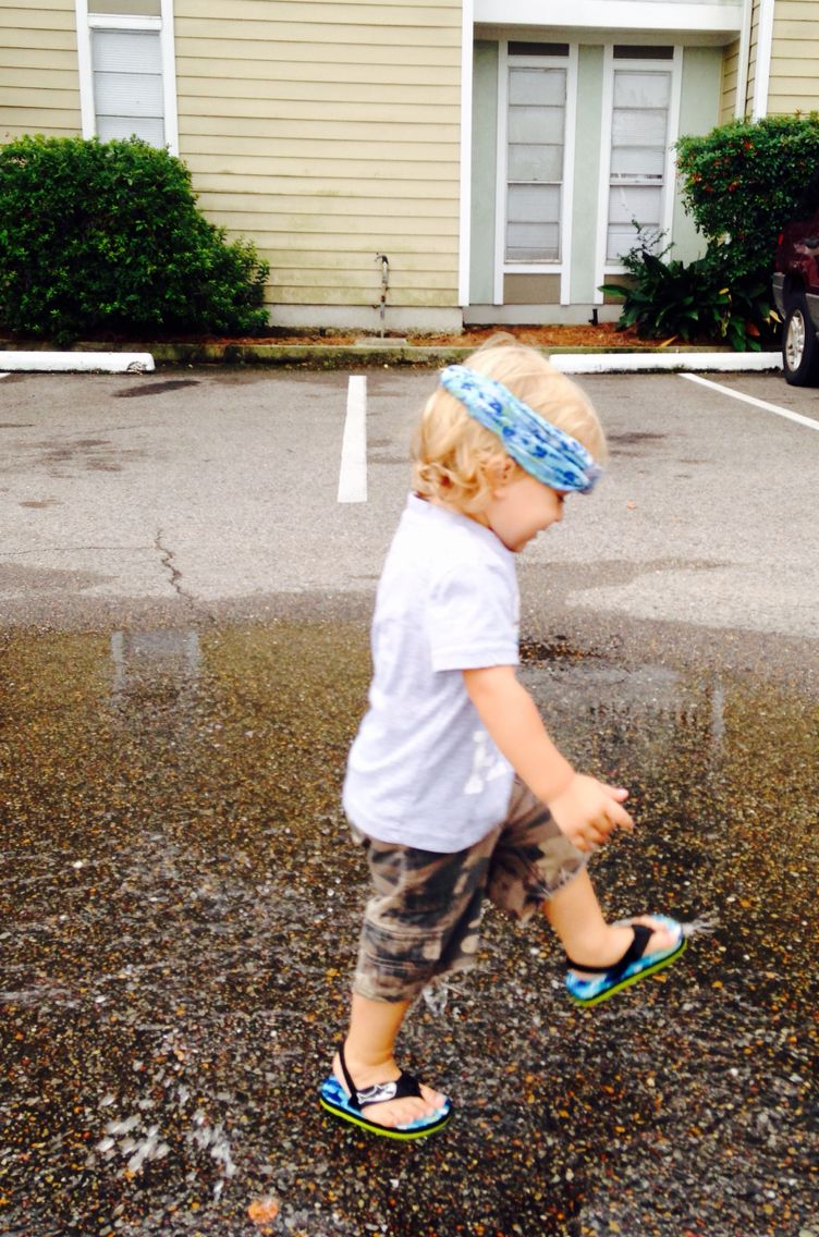 Let them play in puddles  He loved it!