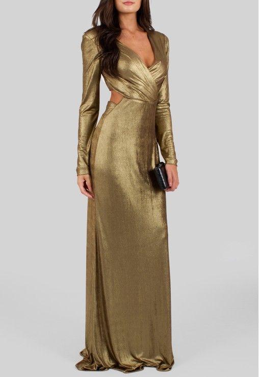 4afcb8301 POWERLOOK - Aluguel de Vestidos Online – Vestido Athena longo com recorte  na cintura Corporeum - dourado #alugueldevestidos #powerlook  #vestidomadrinha ...