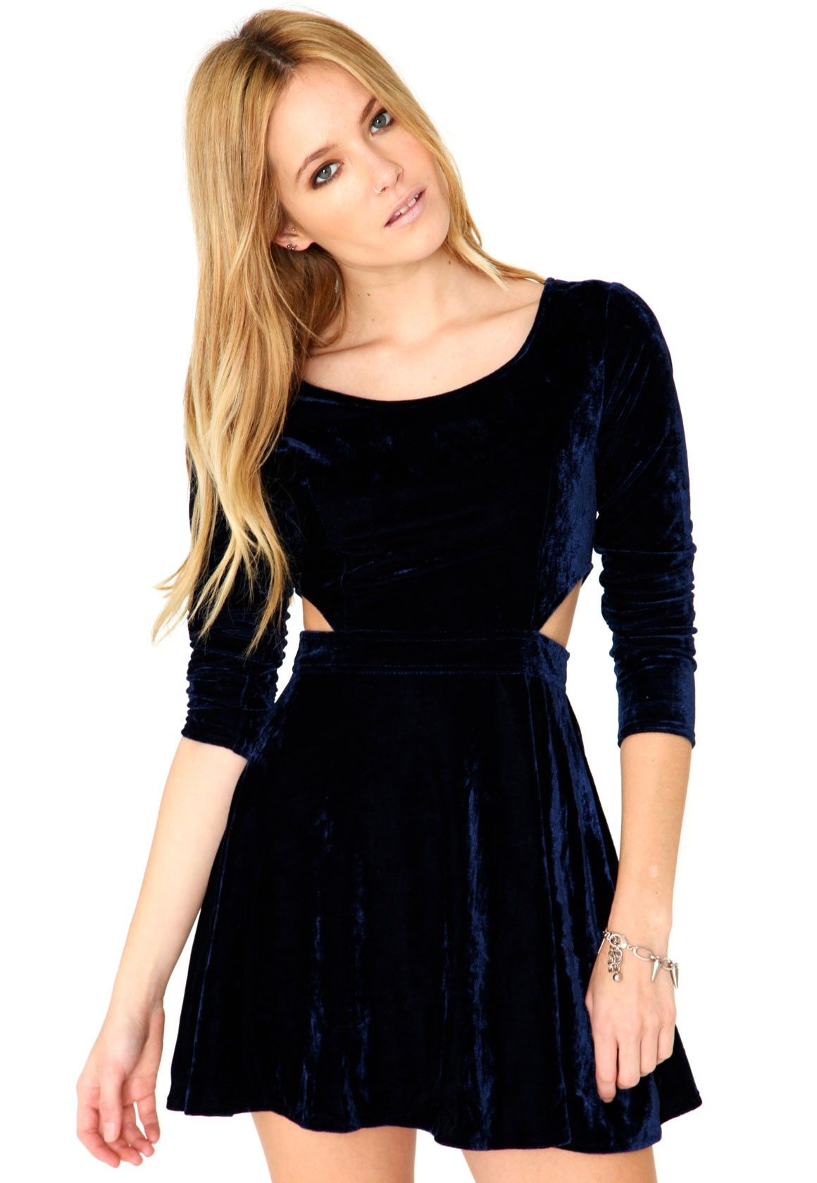 Bushea long sleeve velvet cut out dress in navy outfits