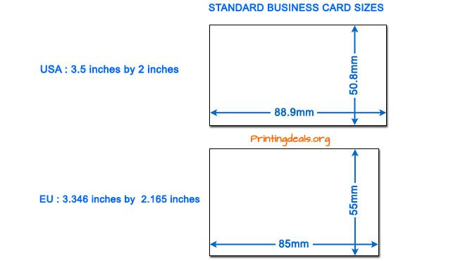 Business Card Sizes Business Card Dimensions Brochure Size Standard Business Card Size