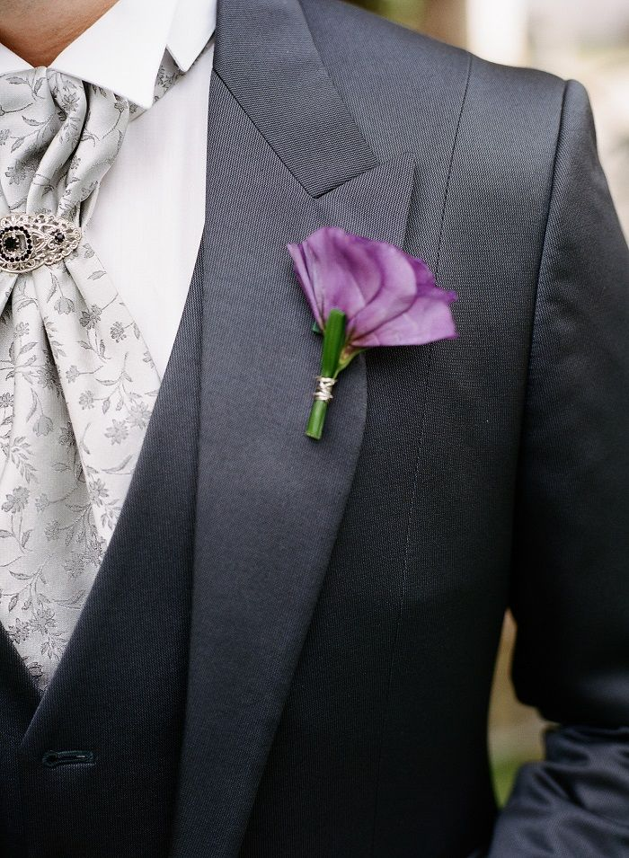 Purple and grey groom style | Romantic Rome Garden wedding | Rochelle Cheever Photography | Fab Mood