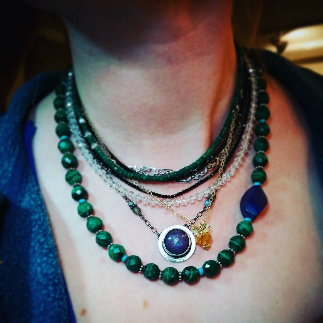 Such a delicious evening... I made 6 #semiprecious #necklaces plus one repair.  # malachite #labradorite #starruby #opal #citrine #emerald #blackspinel #turquoise #lapis #sterlingsilver  #oneofakind #graduation #gift AND I turned on the touch after over a decade :) #metal #smithing