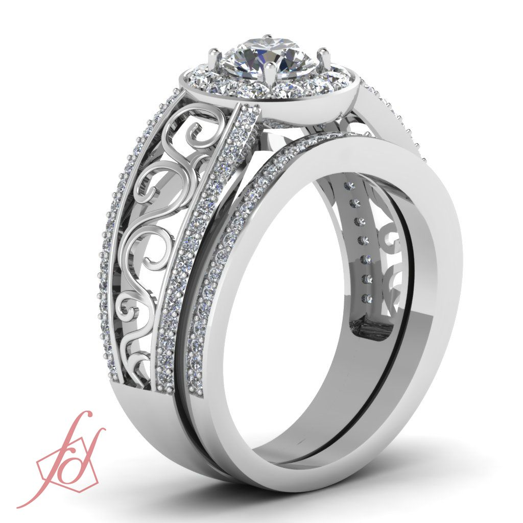 Dazzling Round Cut Diamond Halo Pave Set Engagement Ring 14K White Gold GIA