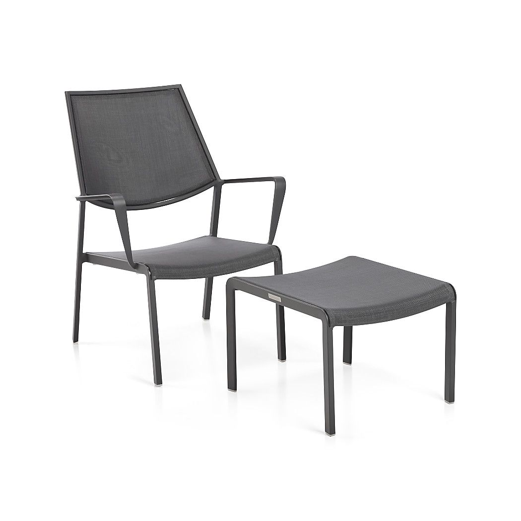 Largo Charcoal Grey Mesh Lounge Chair Crate And Barrel Patio Lounge Furniture Outdoor Chairs Chair