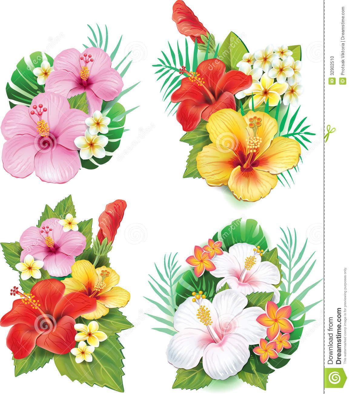 Blue Hawaiian Flower Clipart Arrangement From Hibiscus Other