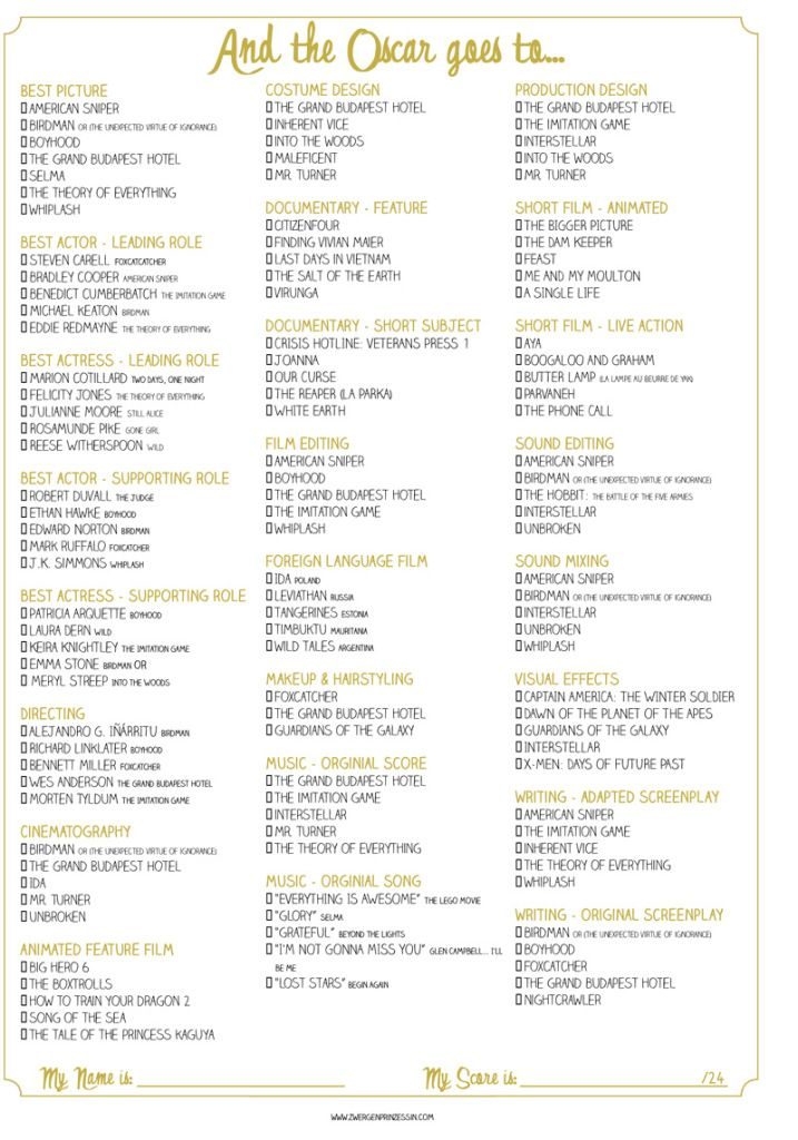 image regarding Printable Oscar Ballots referred to as oscar ballot zum downloaden - all classes upon 1 website page