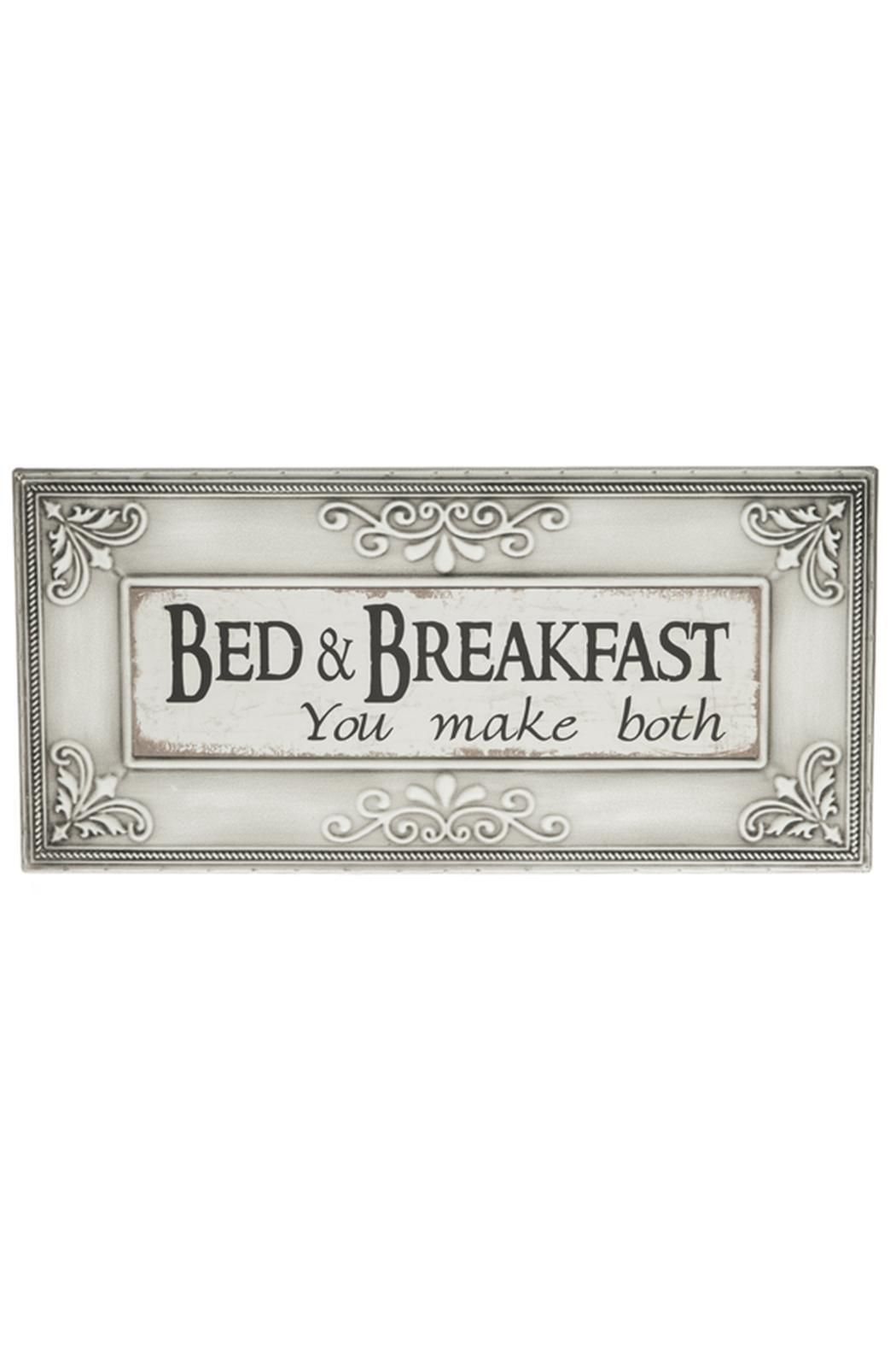 """Embossed Plaque - Bed & Breakfast you make both    Iron    Hooks for hanging.    Color: White Gray    Dimensions: 181/2"""" W. x 9"""" H. Bed & Breakfast Sign by Ganz. Home & Gifts - Home Decor - Wall Art Missouri"""