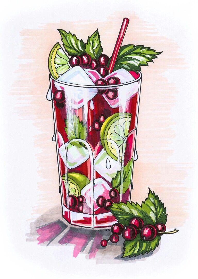 Нарисованные картинки еды и напитков
