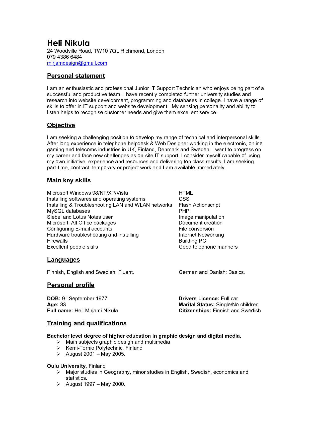 resume with branding statement