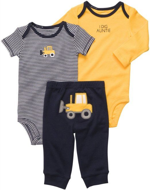 b1e70206de0 Amazon.com  Carter s Baby-Boy s I Dig Auntie Bulldozer Bodysuit Set   Clothing