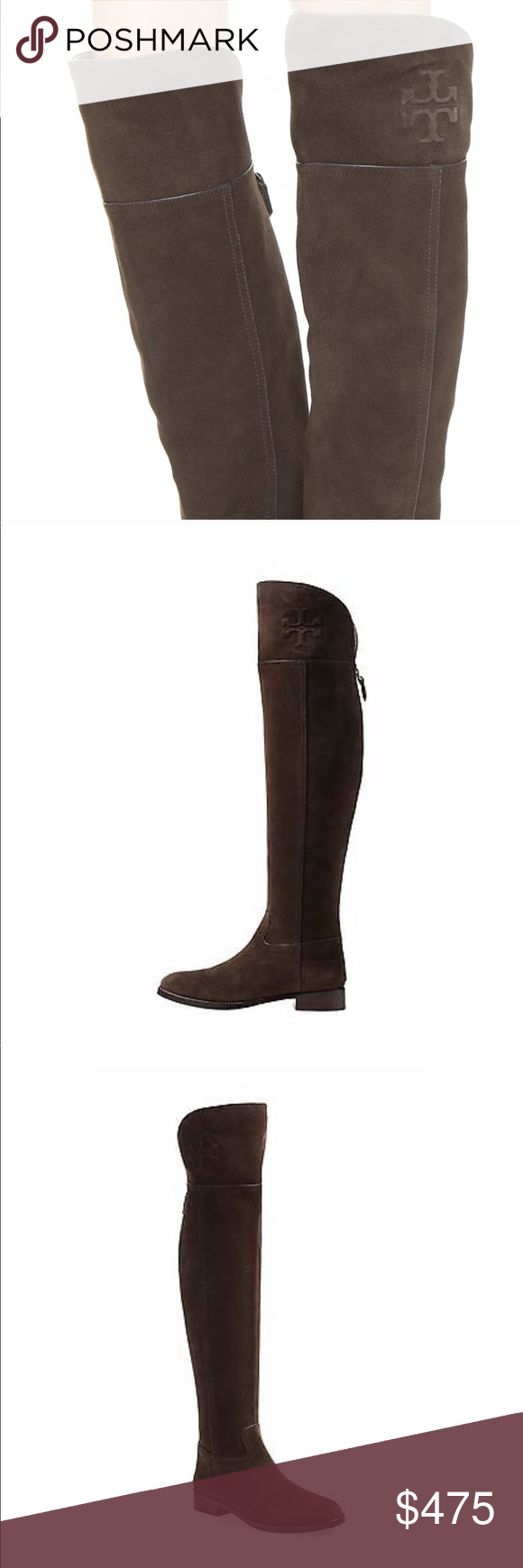 7cce9e487 NWT Authentic Tory Burch Simone over the knee boot Simone calf 259 over the  knee brown suede boots with iconic logo on the side. Never been worn!