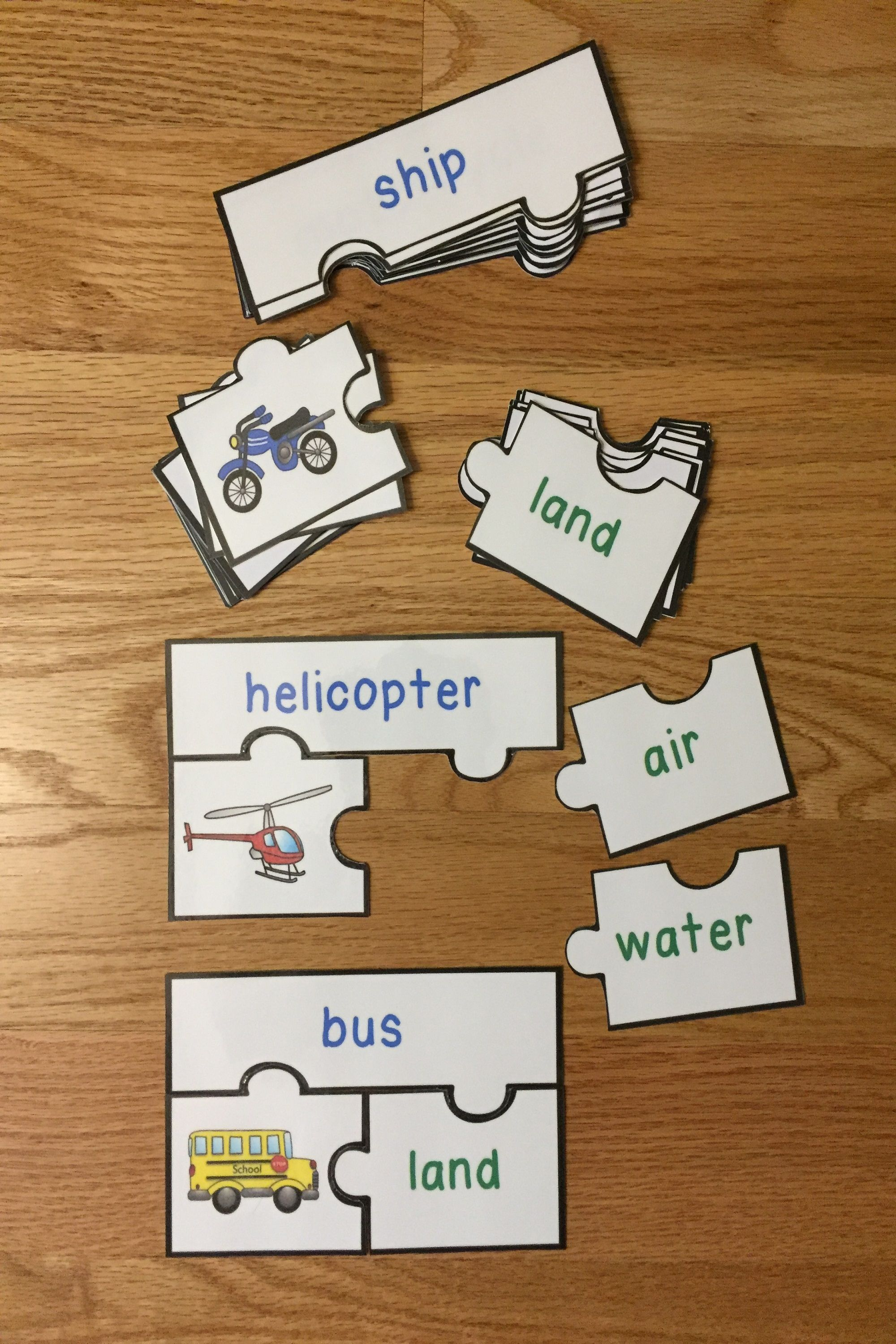 Modes Of Transportation Sort Activity Puzzles