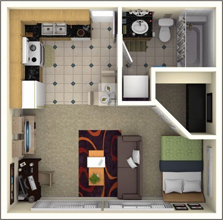 Image result for 300 square foot studio apartment floor plan