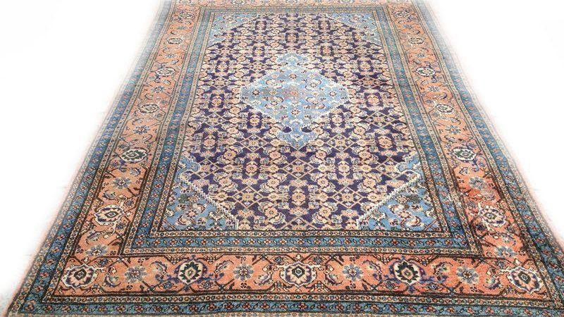 Perzisch Tapijt Tweedehands : Sleets vintage tapijt oranje blauw cm vintage retro