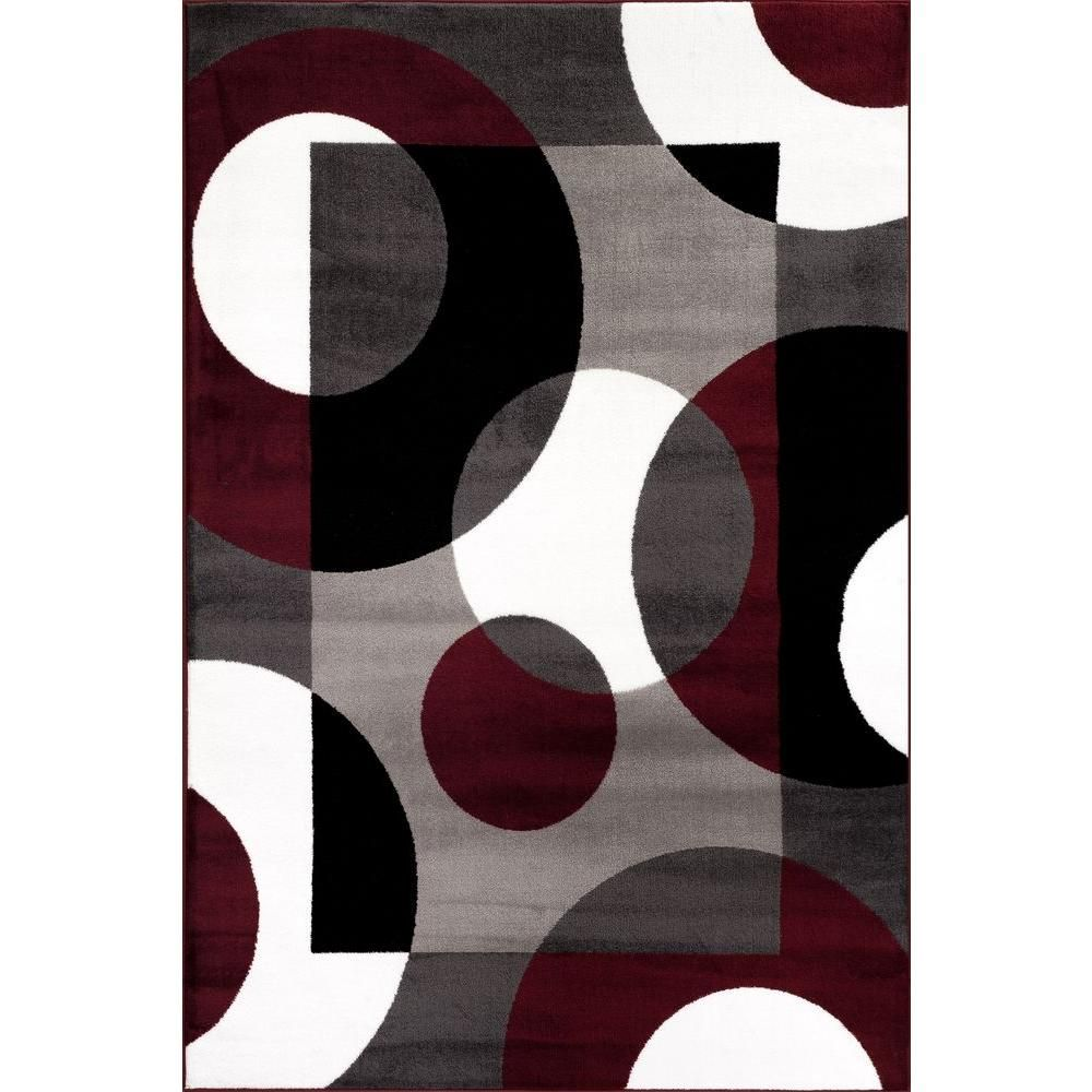 World Rug Gallery Modern Circles Burgundy 3 Ft X 5 Ft Indoor Area