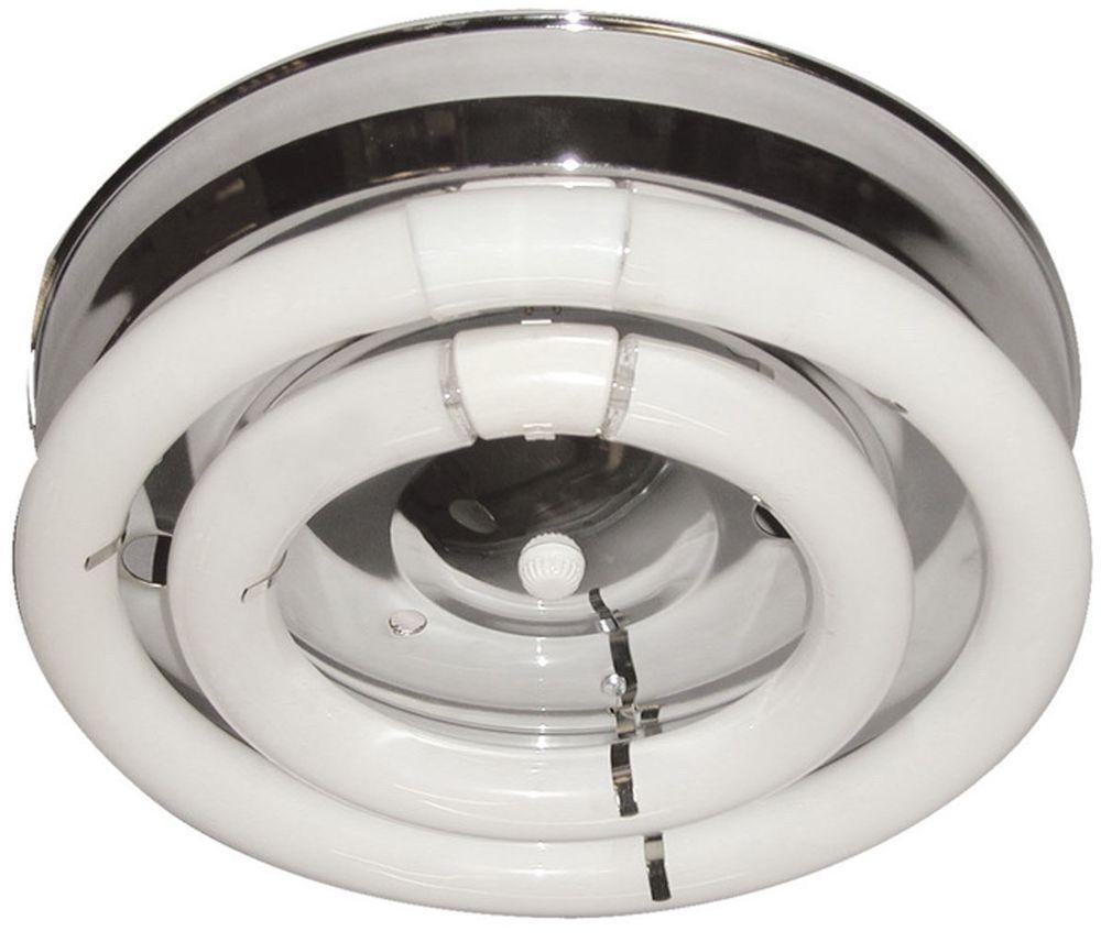 2 Fluorescent Circline Open Bulb Chrome Ceiling Hallway Kitchen