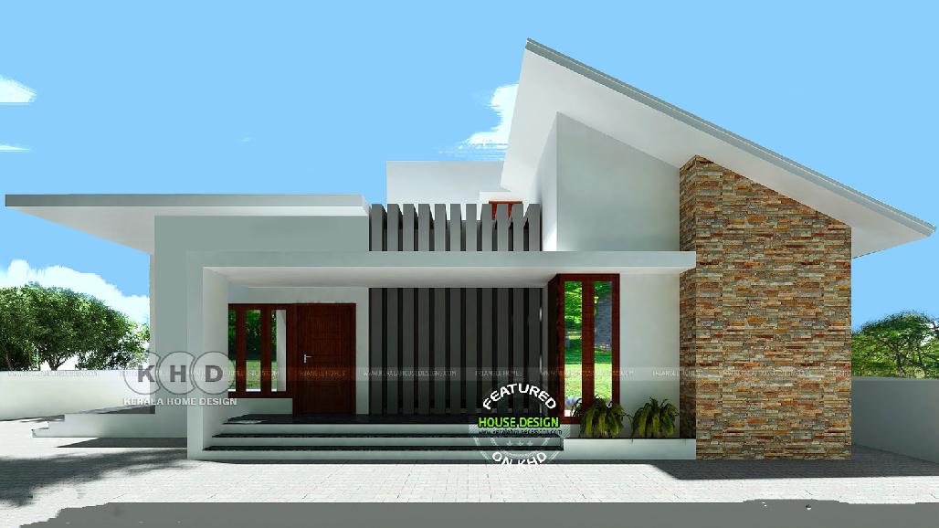 Single Storey House Concrete Structure The Roof Is Covered With A Gray Tone Tile The Exterior Kerala House Design Flat Roof House Contemporary House Exterior