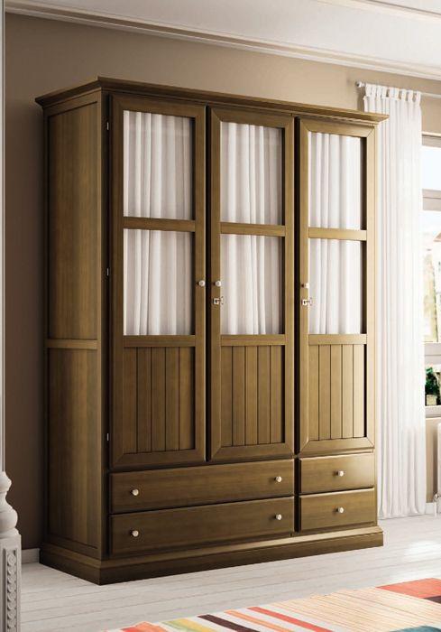 Armario color cerezo de 3 puertas de estilo cl sico visita nuestra web y descubre mas opciones - Armario ropero 4 puertas ...
