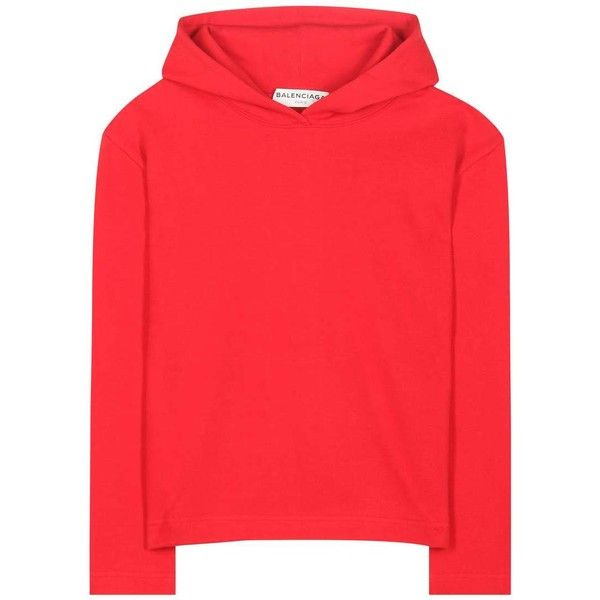 2f4209adf0 Balenciaga Cropped Cotton Hoodie found on Polyvore featuring tops, hoodies,  red, sweatshirts, cut-out crop tops, cotton crop top, hooded pullover,  hoodie ...