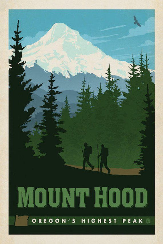 Mount Hood Art Print Mount Hood Tallest Mountain Portland Etsy National Park Posters Travel Posters Vintage Travel Posters