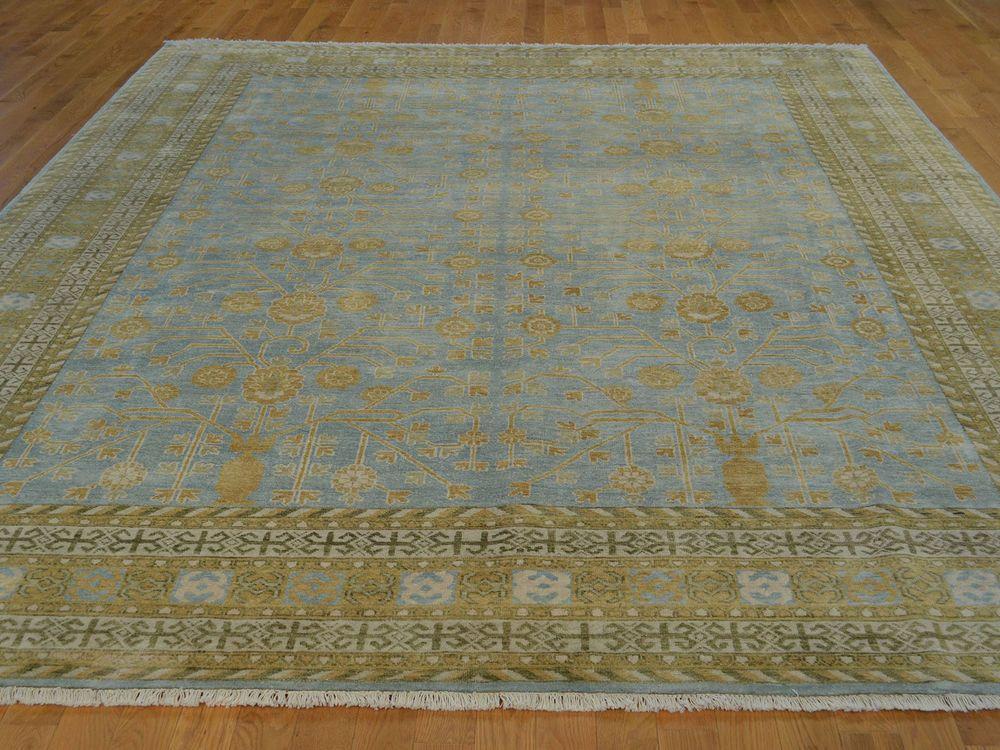 9 X 12 Hand Knotted Pure Silk Fine Khotan Oriental Rug Light Blue G19157 Oriental Rug Khotan Rugs