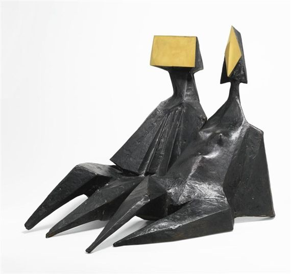 Artwork by Lynn Chadwick, PAIR OF SITTING FIGURES III, Made of bronze