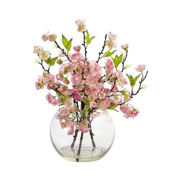 Cherry Blossom In Vase Pink 42 Liked On Polyvore Featuring Home Home Decor Floral Decor Pink P Large Glass Vase Flower Arrangements Vase Arrangements