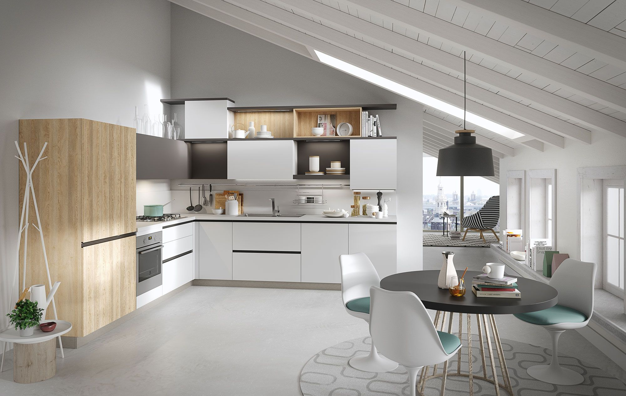Classic kitchen Joy with doors in melamine arctic white smooth ...