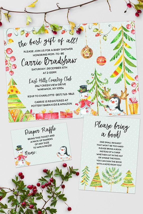 Christmas baby shower invitation suite | Penguin baby shower ...