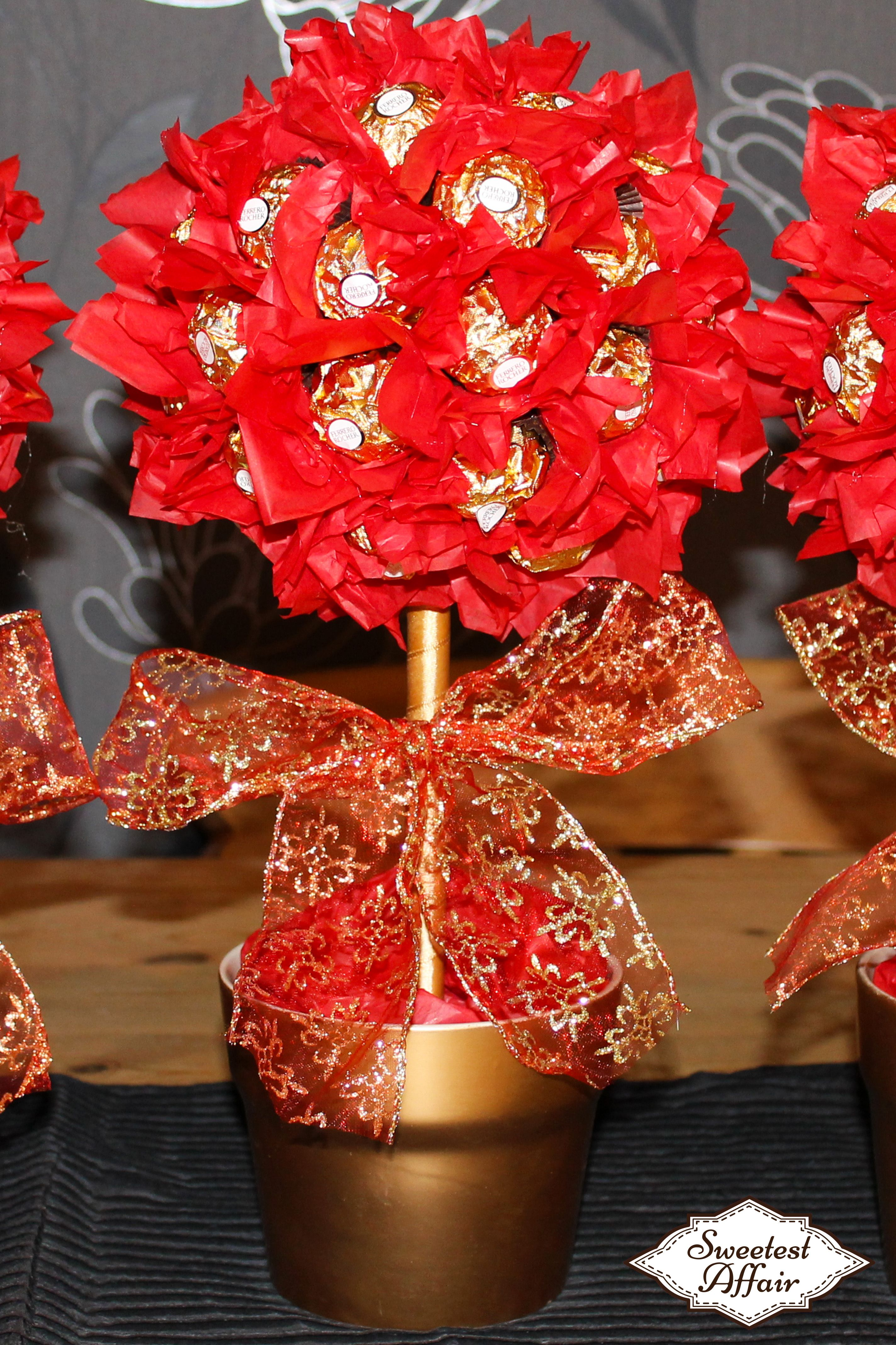 Red white and gold wedding sweet tree centrepieces ferrero rocher red white and gold wedding sweet tree centrepieces ferrero rocher sweet trees http izmirmasajfo Images