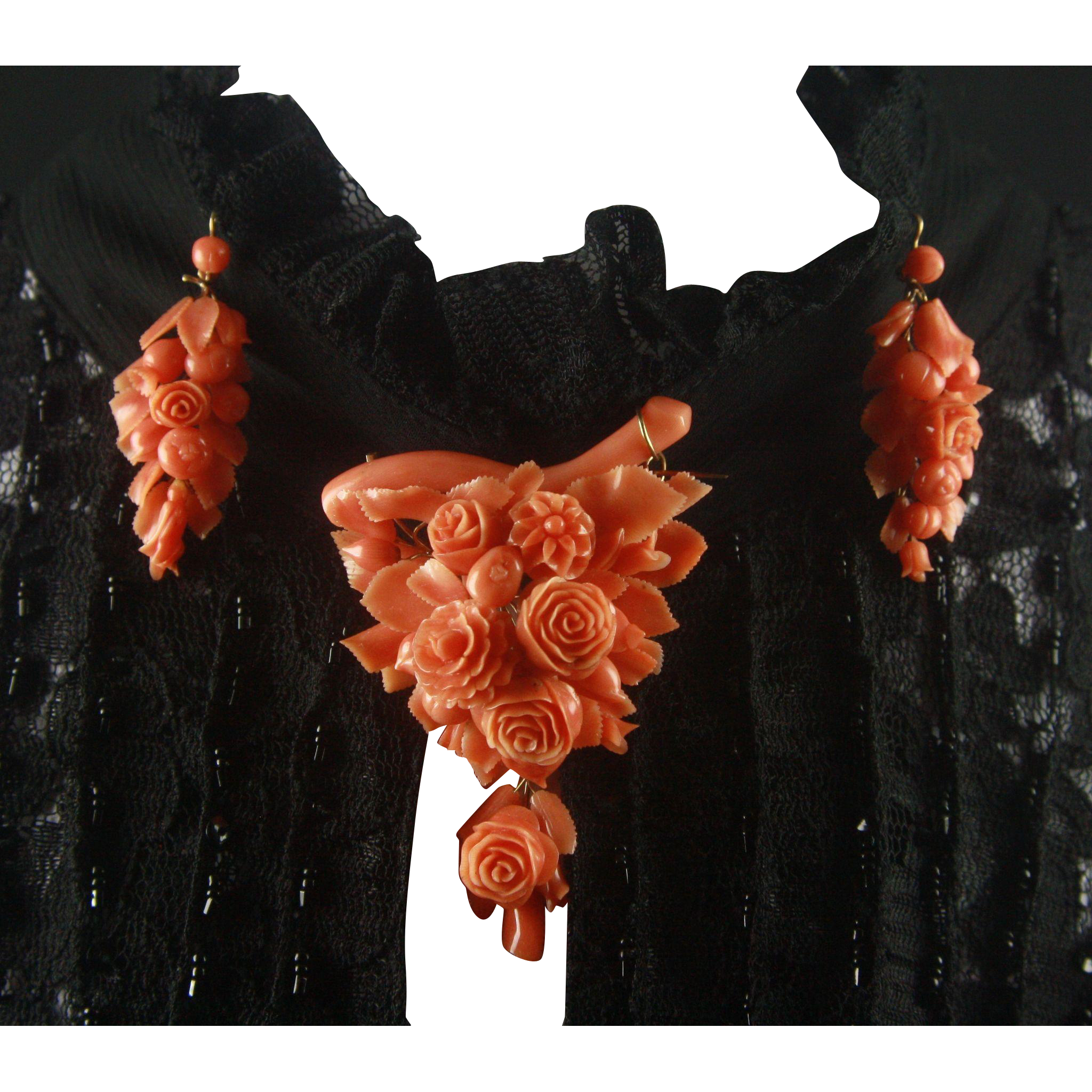 Victorian Carved Coral Roses Flower and Fruits Pendant Brooch and Earrings Demi-parure