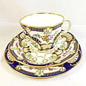 Royal Crown Derby Trio 1904 Edwardian Bone China Tea Cups Vintage Tea Cups Antique Tea Cups