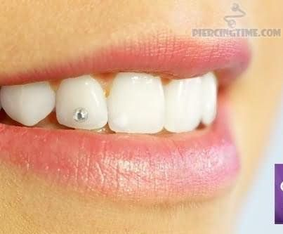 Silver Gem Tooth Piercing Tatts Mod Piercings Piercings Tooth