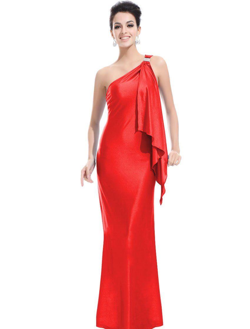 Ever pretty stretchy unique single shoulder diamantes prom gown