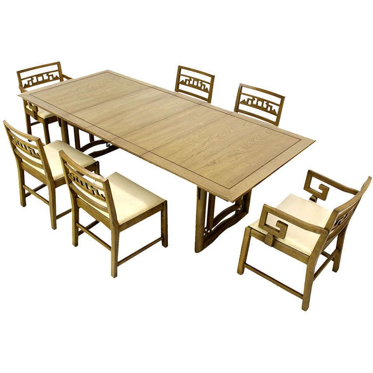 Mid Century Oriental Modern Dining Table Set With Six Chairs On Heavy Base