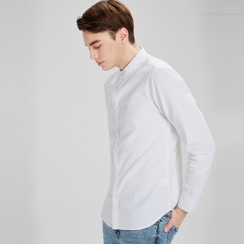 ec790658b Men Cotton Shirts Long Sleeve Collar Casual Simple Men Slim Shirt in ...