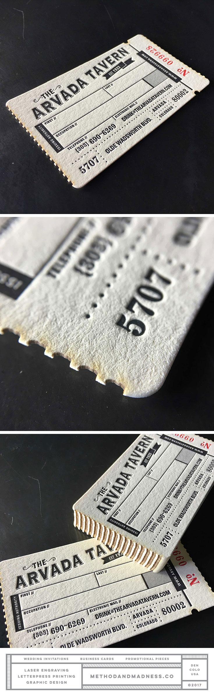 Vintage style letterpress business cards using crash numbering and ...