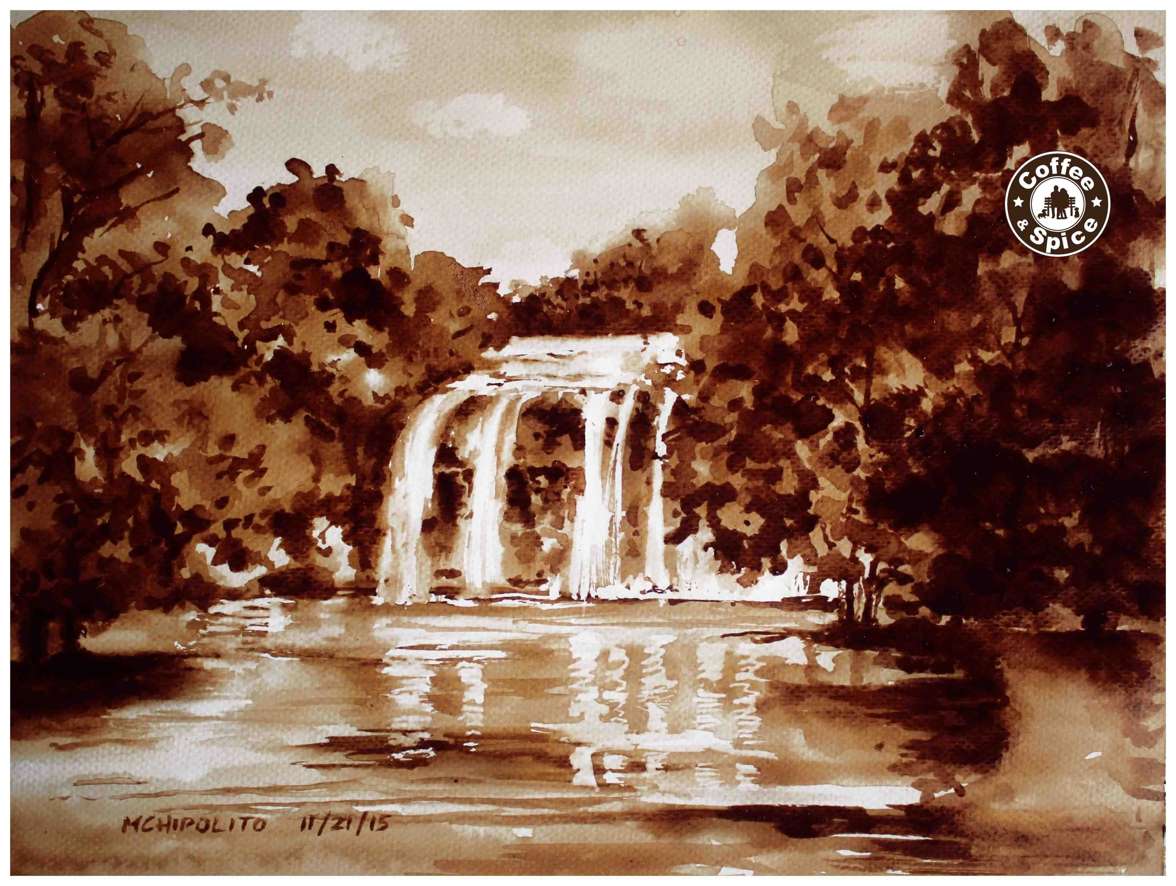 Coffee Painting Tutorial How To Paint A Realistic Waterfall Using Insta Coffee Painting Coffee Art Painting Painting