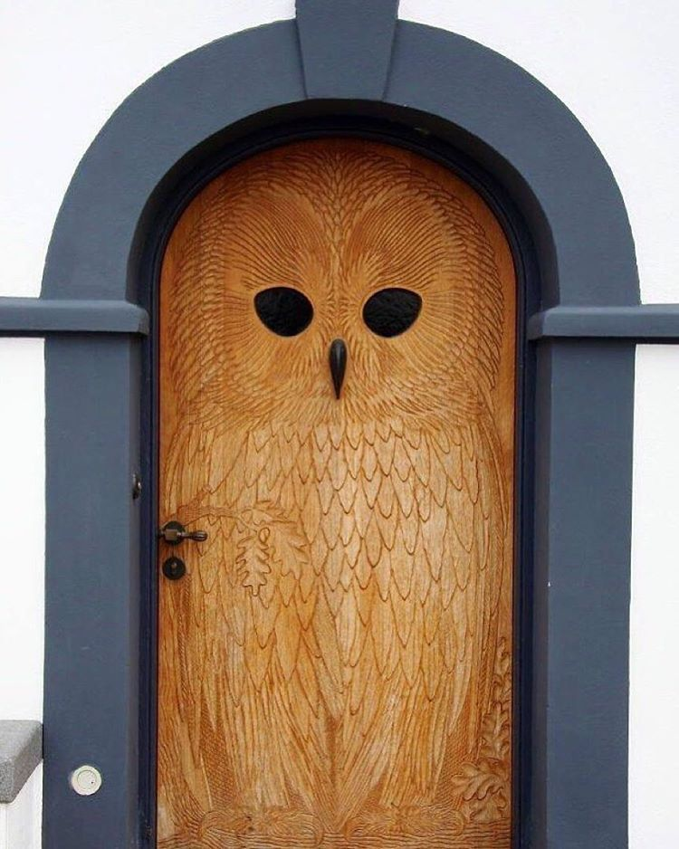 I've met my dream door and it looks like an owl. This carved door in Copenhagen is amazing. via @typefiend and @boredpanda (Anyone know the original source and photographer? I've been through 20+ pages of reverse Google image searches with no luck)