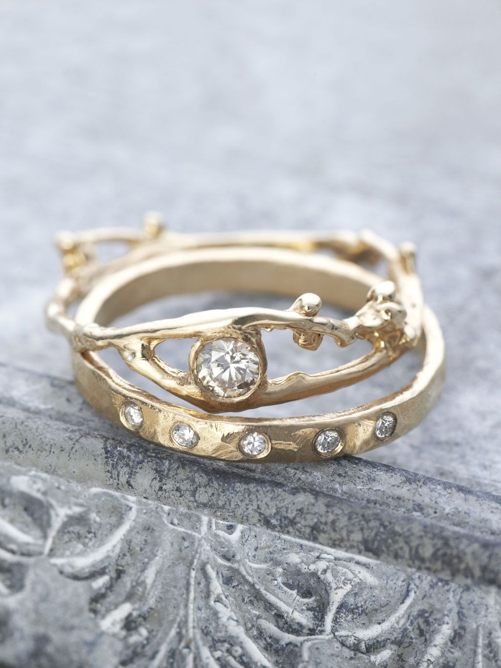 Fairy Diamond Branch Ring Branch ring Champagne diamond and Champagne