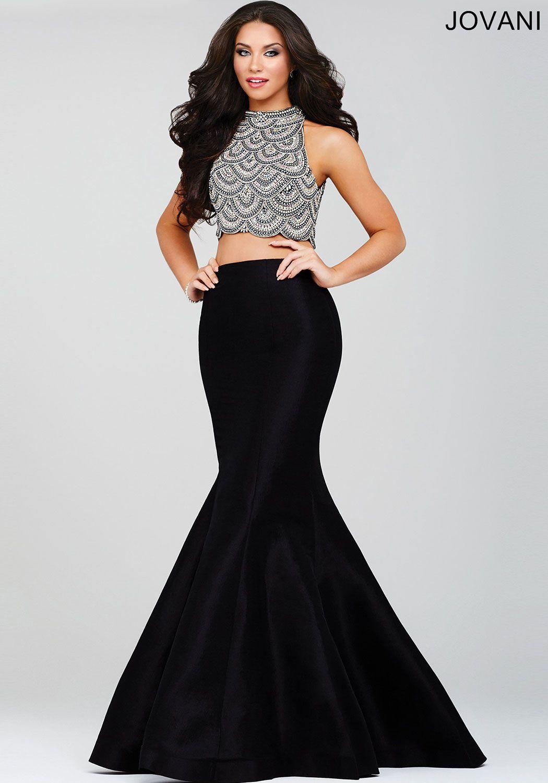 e6e33d0bb73c8 Black Two-Piece Mermaid Prom Dress 35204