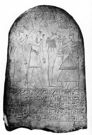 Stela, Priest Psusennes, making offerings to the gods Osiris
