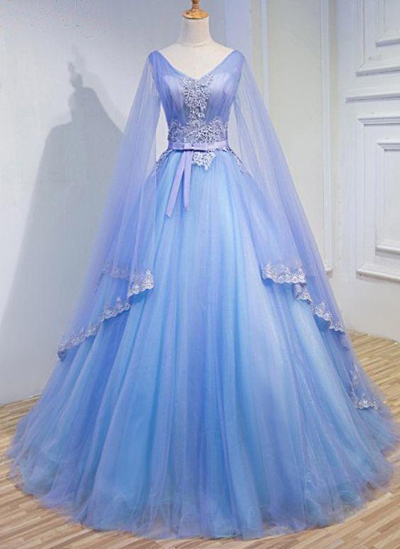 Light Blue Tulle V Neck Long Sleeve Lace Applique Prom Dress For Teen #spitzeapplique