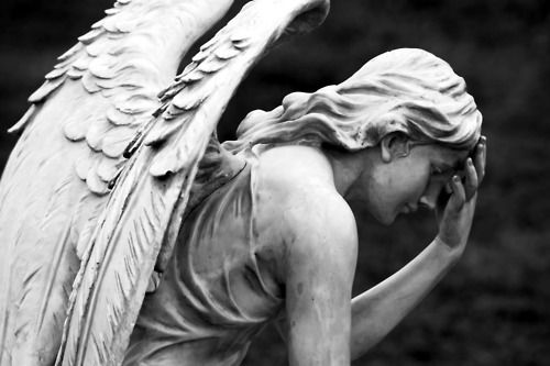 Imagem de angel, black and white, and sculpture