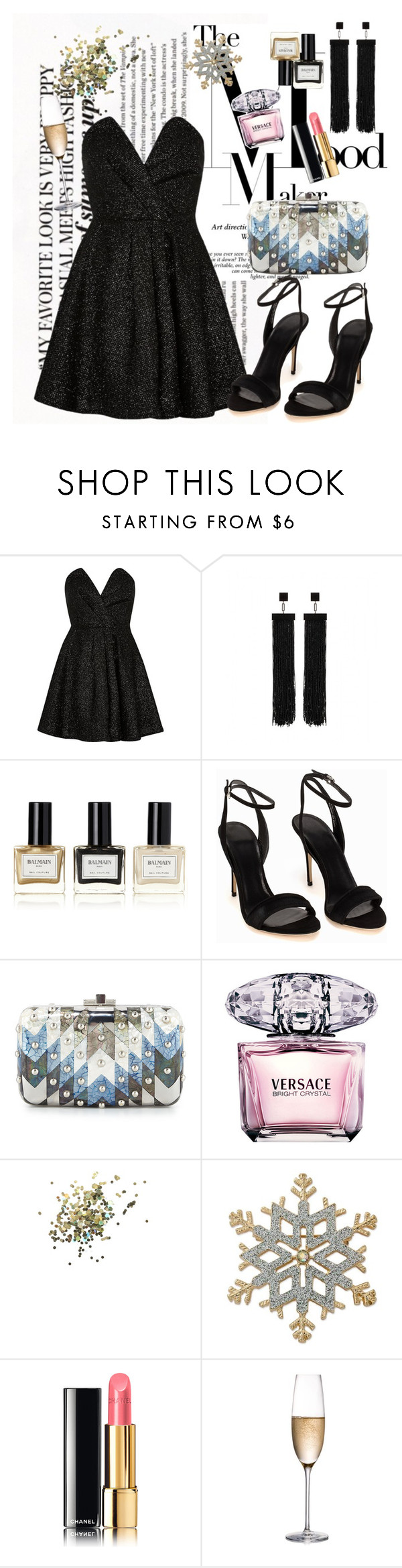 """""""Untitled #1074"""" by ekozlova ❤ liked on Polyvore featuring River Island, Tom Ford, Balmain, Judith Leiber, Versace, Topshop, Kim Rogers, Chanel and Rogaska"""