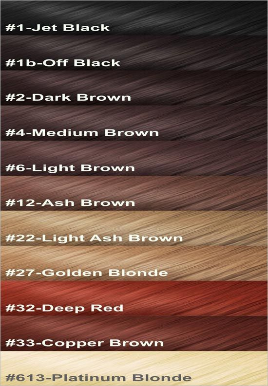 Color Chart Of Human Hair Hair Extensions Pinterest Colour